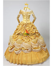 Cosrea Disney Beauty And Beast Belle 2 Pieces Set Brocade Ruffle Cosplay Costume