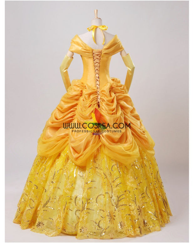 Cosrea Disney Beauty And Beast Belle Amber Gold With Embroidery Accent Cosplay Costume