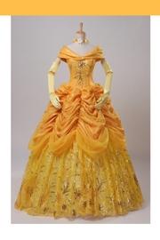 Beauty And Beast Belle Amber Gold With Embroidery Accent Cosplay Costume - Cosrea Cosplay