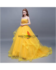 Cosrea Disney Beauty And Beast Belle Classic Basque Style With Train Cosplay Costume