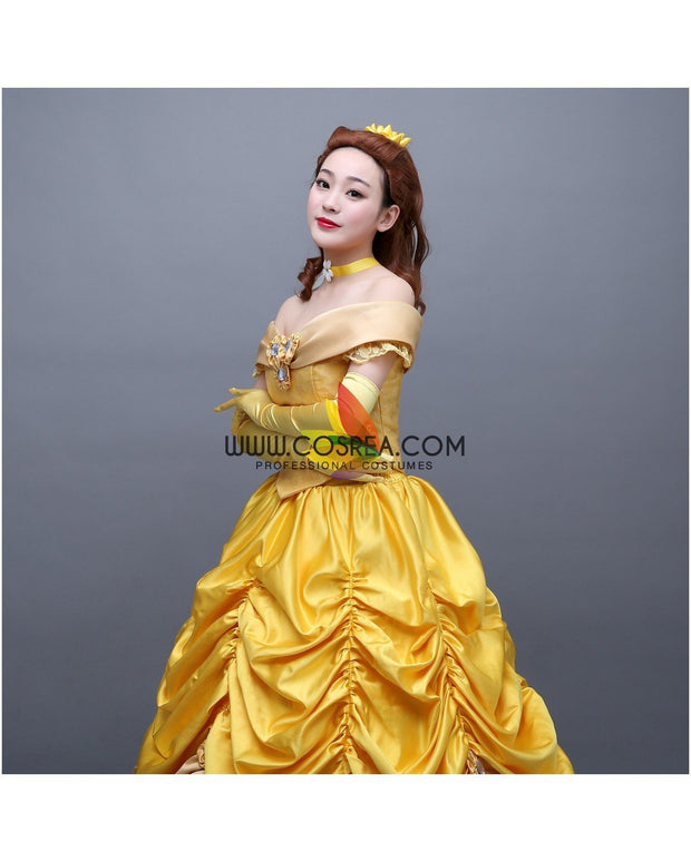 Cosrea Disney Beauty And Beast Belle Classic Floral Brocade Tiered Cosplay Costume