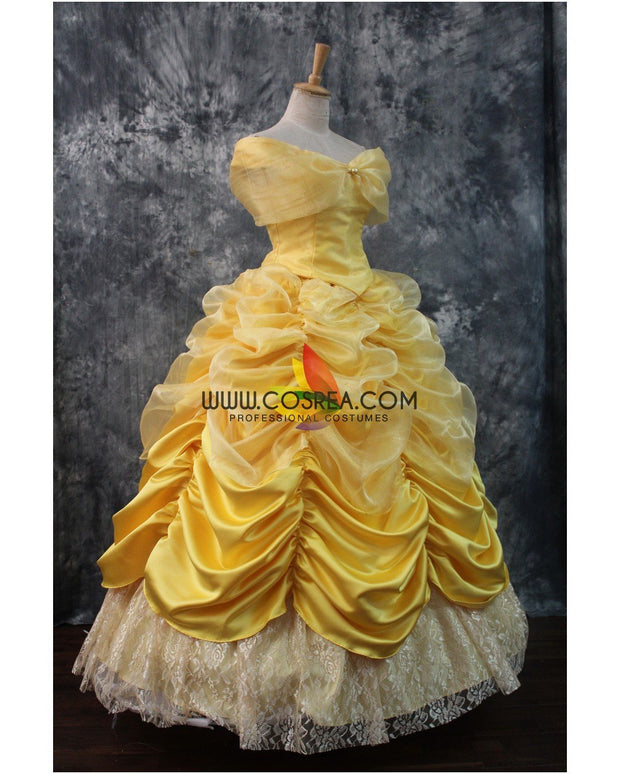 Cosrea Disney Beauty And Beast Belle Classic Multilayer Tulle Cosplay Costume