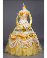 Cosrea Disney Beauty And Beast Belle Light Gold Velvet Cosplay Costume