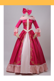 Beauty And Beast Belle Pink Satin With Embroidered Gold Accent Cosplay Costume - Cosrea Cosplay