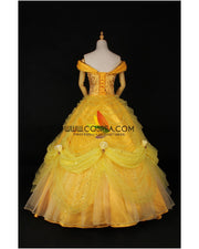 Cosrea Disney Beauty And Beast Belle Rose Gold Brocade Drape Cosplay Costume