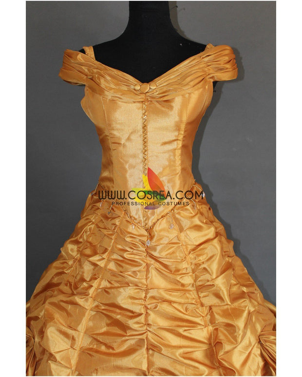 Cosrea Disney Beauty And Beast Belle Rose Gold Satin Cosplay Costume
