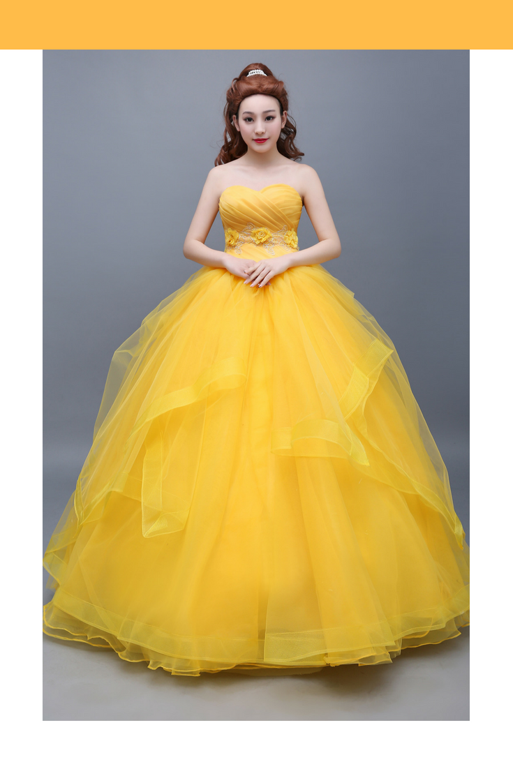 Beauty And Beast Classic Princess Belle Basque Multilayer Cosplay Costume