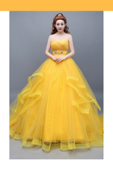 Beauty And Beast Classic Princess Belle Basque With Train Cosplay Costume