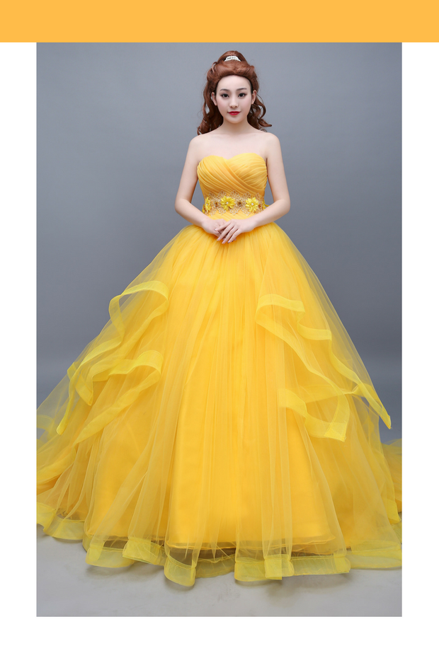 Cosrea Disney Beauty And Beast Classic Princess Belle Basque With Train Cosplay Costume