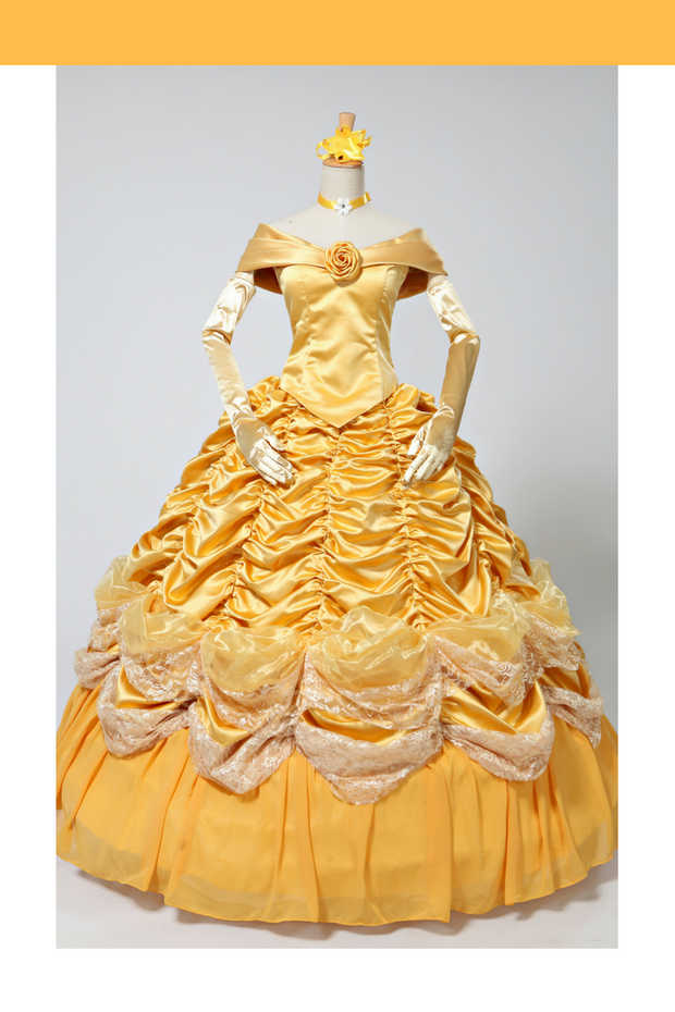 Cosrea Disney Beauty And Beast Classic Princess Belle Brocade Ruffle Two Pieces Cosplay Costume