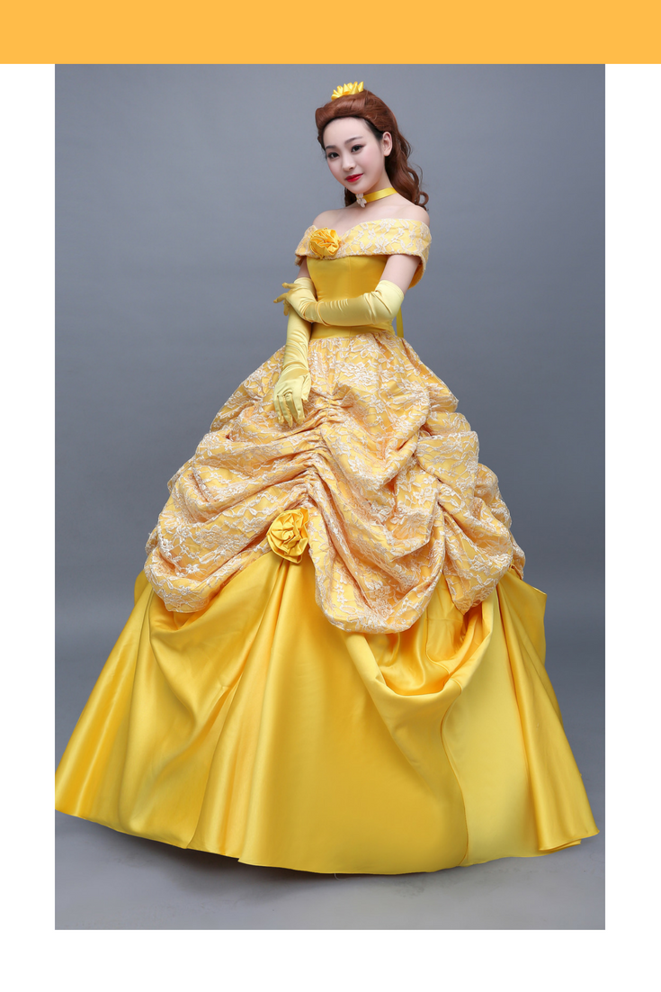 Beauty And Beast Classic Princess Belle Brocade Satin With Rose Multilayer Cosplay Costume