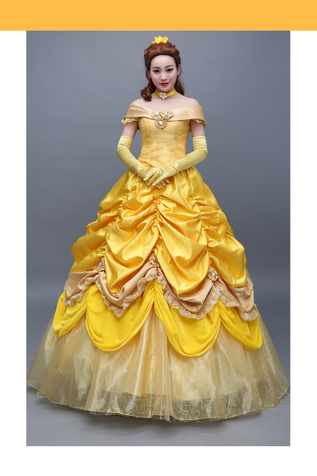Beauty And Beast Belle Satin With Organza Tulle Layer Cosplay Costume - Cosrea Cosplay