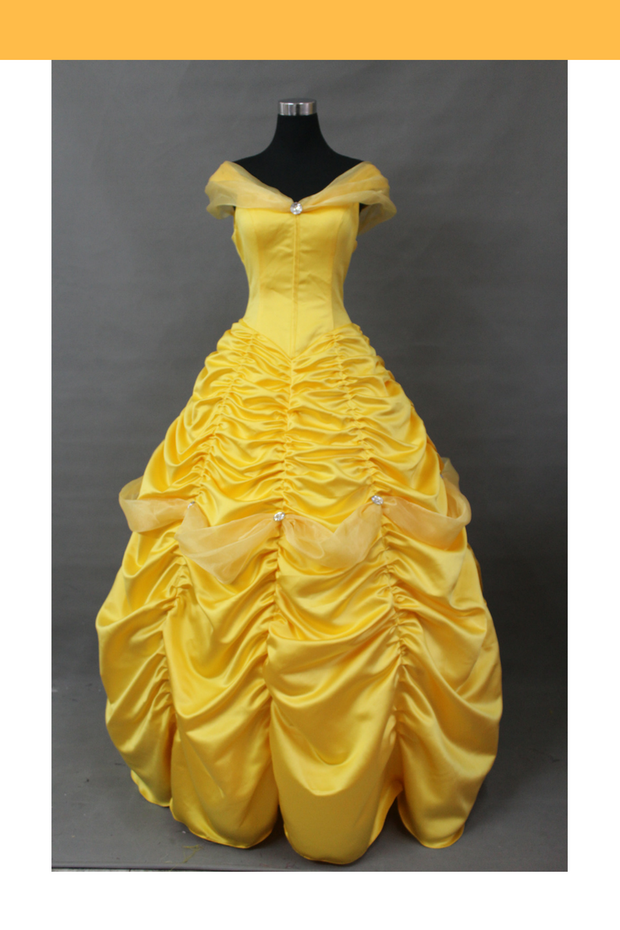 Beauty And Beast Belle With Tulle Shoulder Drape Cosplay Costume - Cosrea Cosplay