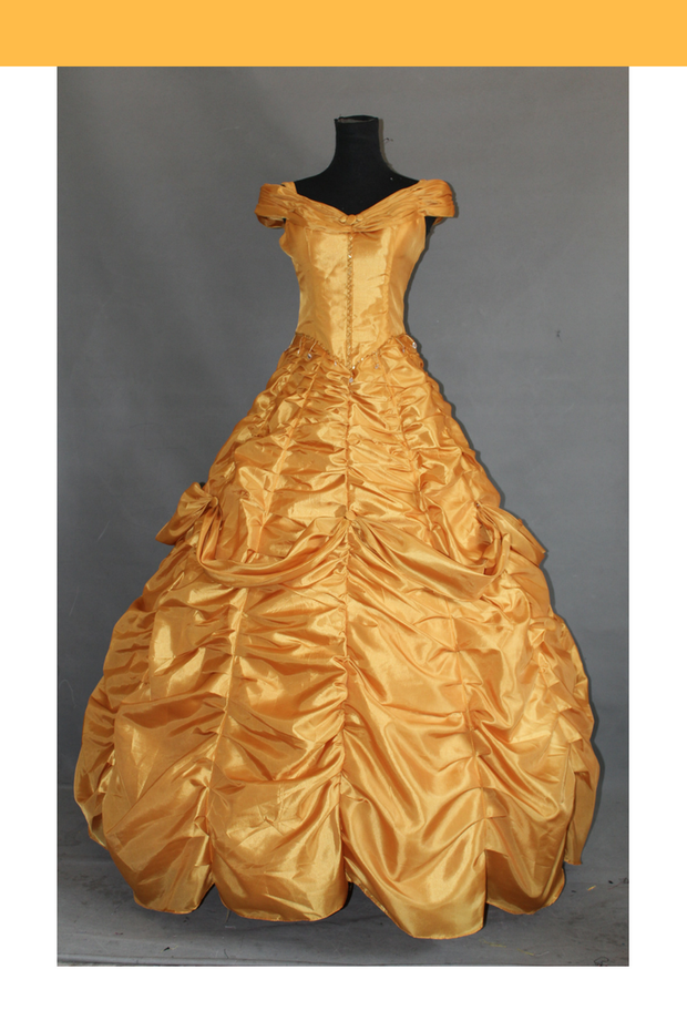 Beauty And Beast Belle Rose Gold Satin Cosplay Costume - Cosrea Cosplay