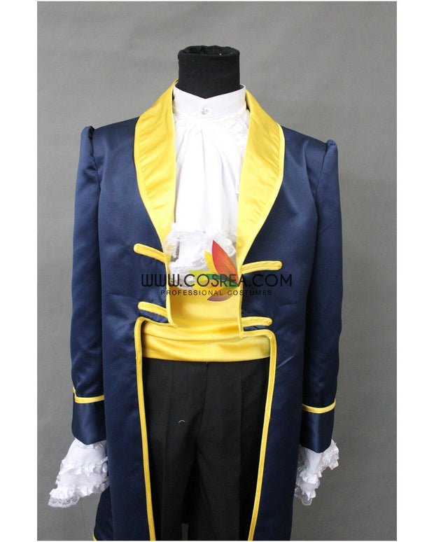 Cosrea Disney Beauty And Beast Prince Navy Blue Satin Cosplay Costume