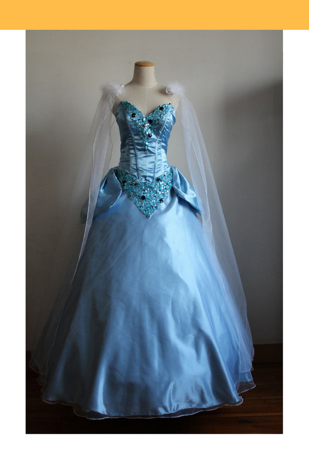Cosrea Disney Cinderella Classic Satin With Gems And Chiffon Veil Cosplay Costume
