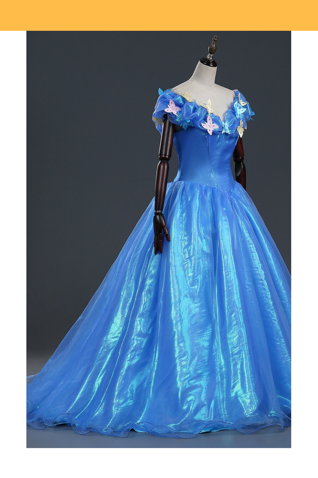 Cosrea Disney Cinderella Live Action 2015 Classic Glass Tulle Cosplay Costume