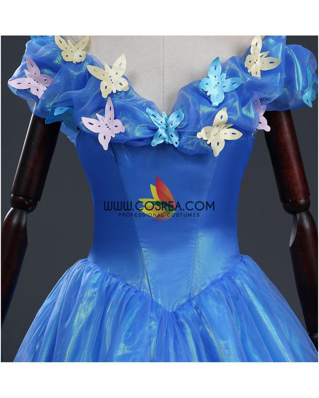 Cosrea Disney Cinderella Live Action Glass Tulle Cosplay Costume