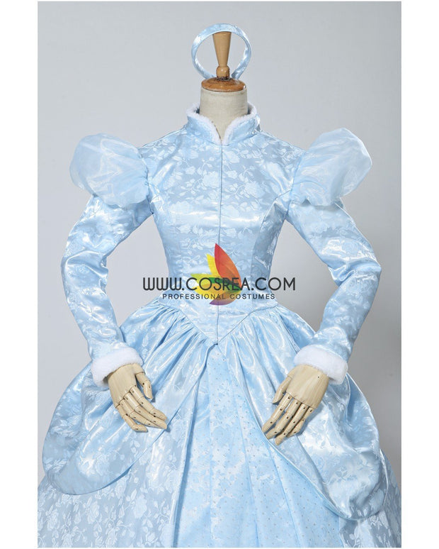 Cosrea Disney Cinderella Winter Cosplay Costume In Brocade Satin