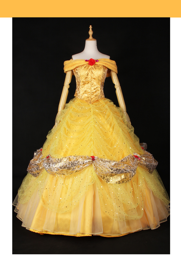 Cosrea Disney Default Beauty And Beast Belle Gold Rose Cosplay Costume