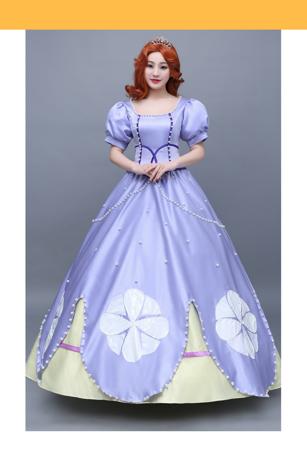 Cosrea Disney First Princess Sofia Classic Satin With Pearl Cosplay Costume