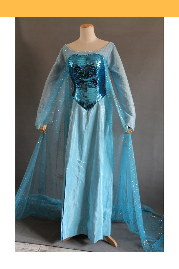 Cosrea Disney Frozen Elsa Turquoise Sequin Ice Queen Cosplay Costume