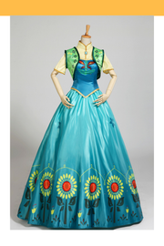 Frozen Fever Anna Turquoise Satin Embroidered Cosplay Costume - Cosrea Cosplay