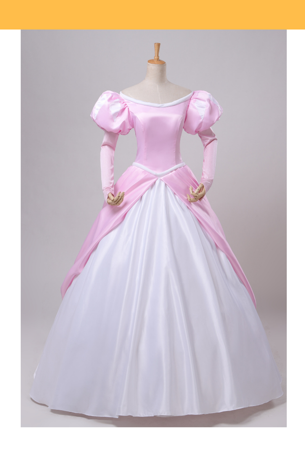 Cosrea Disney Little Mermaid Ariel Classic Pink With Chiffon Sleeves Cosplay Costume