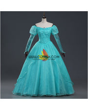 Cosrea Disney Little Mermaid Ariel Turquoise Tulle With Pearl Cosplay Costume