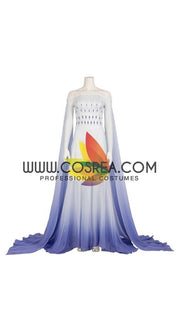 Frozen 2 Elsa Ending White Dress With Gradient Purple Drape Cosplay Costume - Cosrea Cosplay
