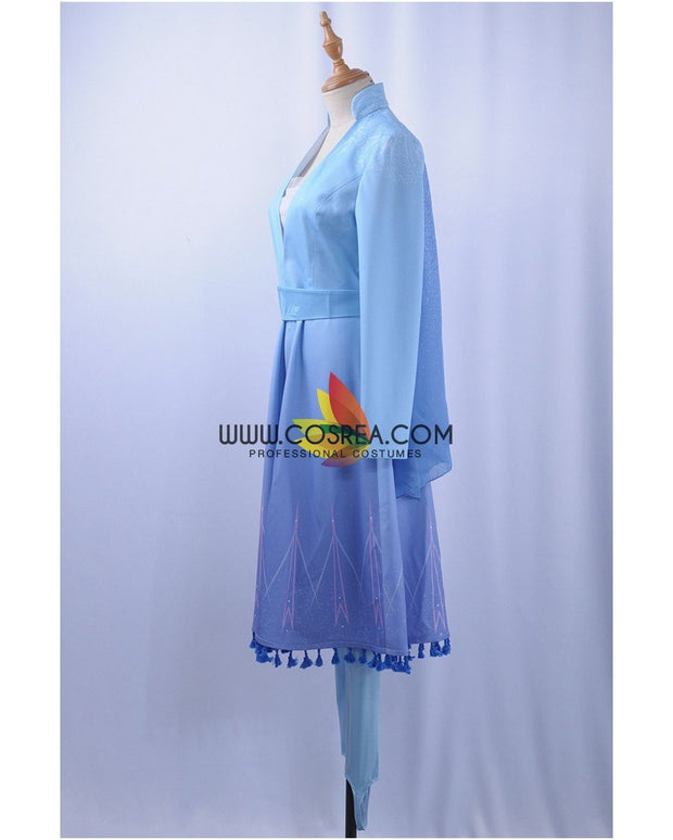 Cosrea Disney No Option Frozen 2 Elsa Light Blue With Tassel Cosplay Costume