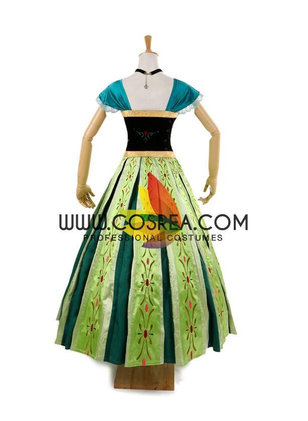 Cosrea Disney No Option Frozen Anna Coronation Classic Cosplay Costume