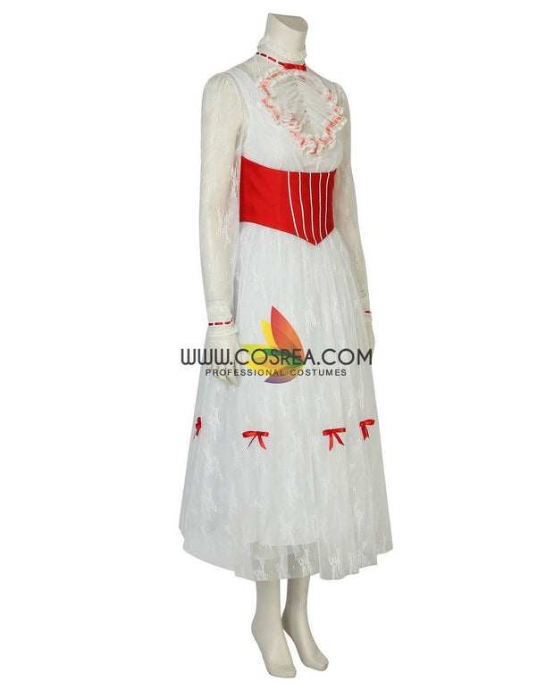 Cosrea Disney No Option Mary Poppins Classic Floral Lace Cosplay Costume