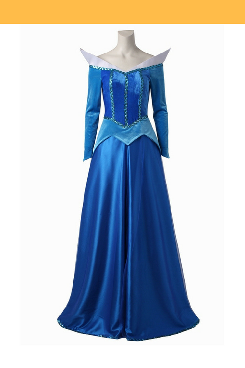 Cosrea Disney No Option Sleeping Beauty Aurora In Blue With Velvet Sleeves Cosplay Costume
