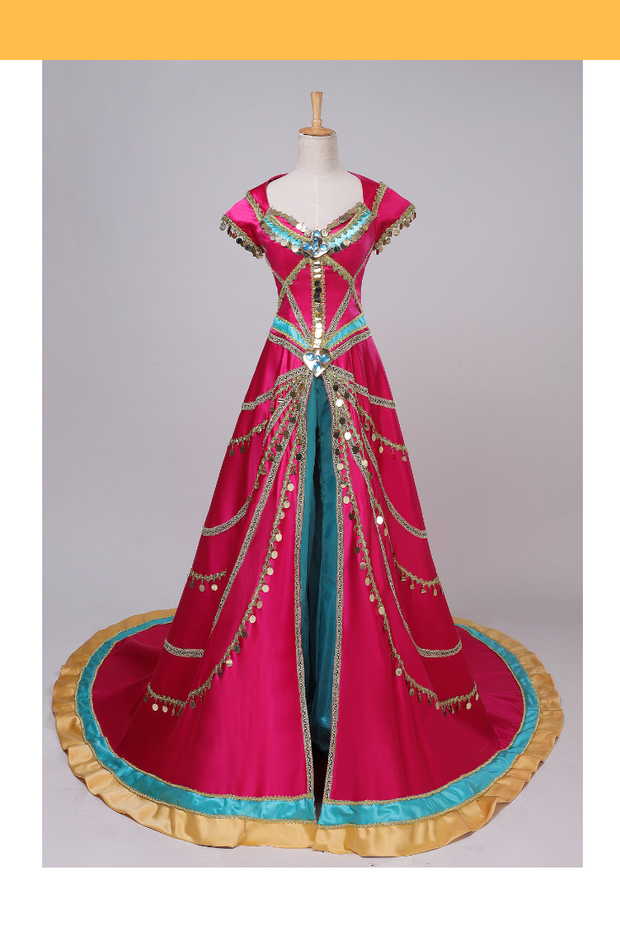 Princess Jasmine Formal Magenta Live Action Movie Cosplay Costume - Cosrea Cosplay
