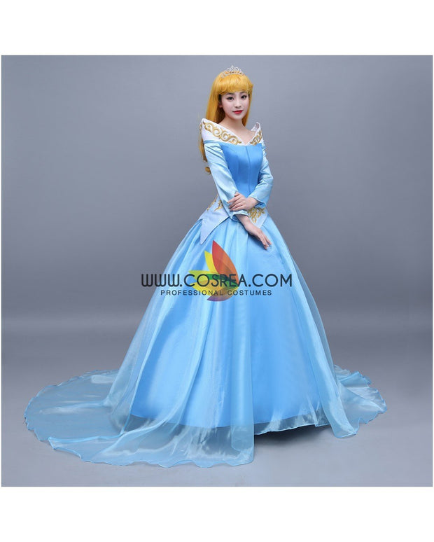 Cosrea Disney Sleeping Beauty Aurora Blue Tulle Overlayer Cosplay Costume