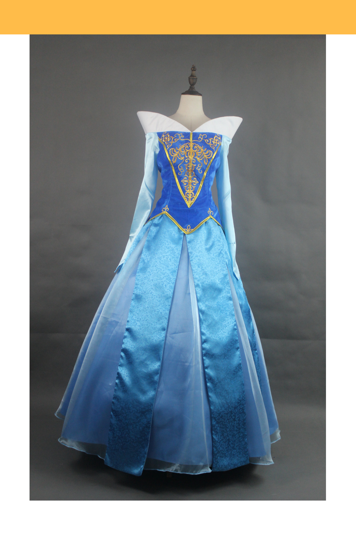 Sleeping Beauty Aurora Blue Velvet Embroidered Cosplay Costume