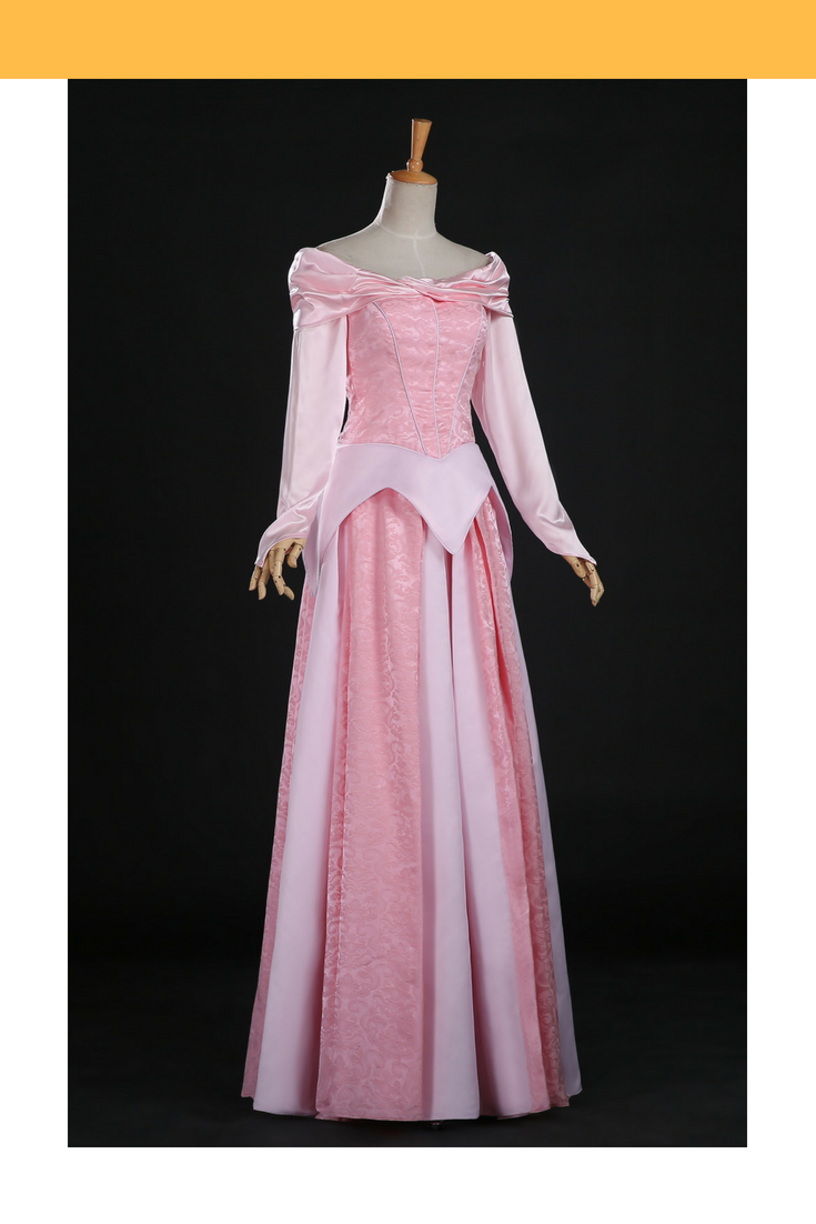 Sleeping Beauty Aurora Blush Pink Brocade Cosplay Costume - Cosrea Cosplay
