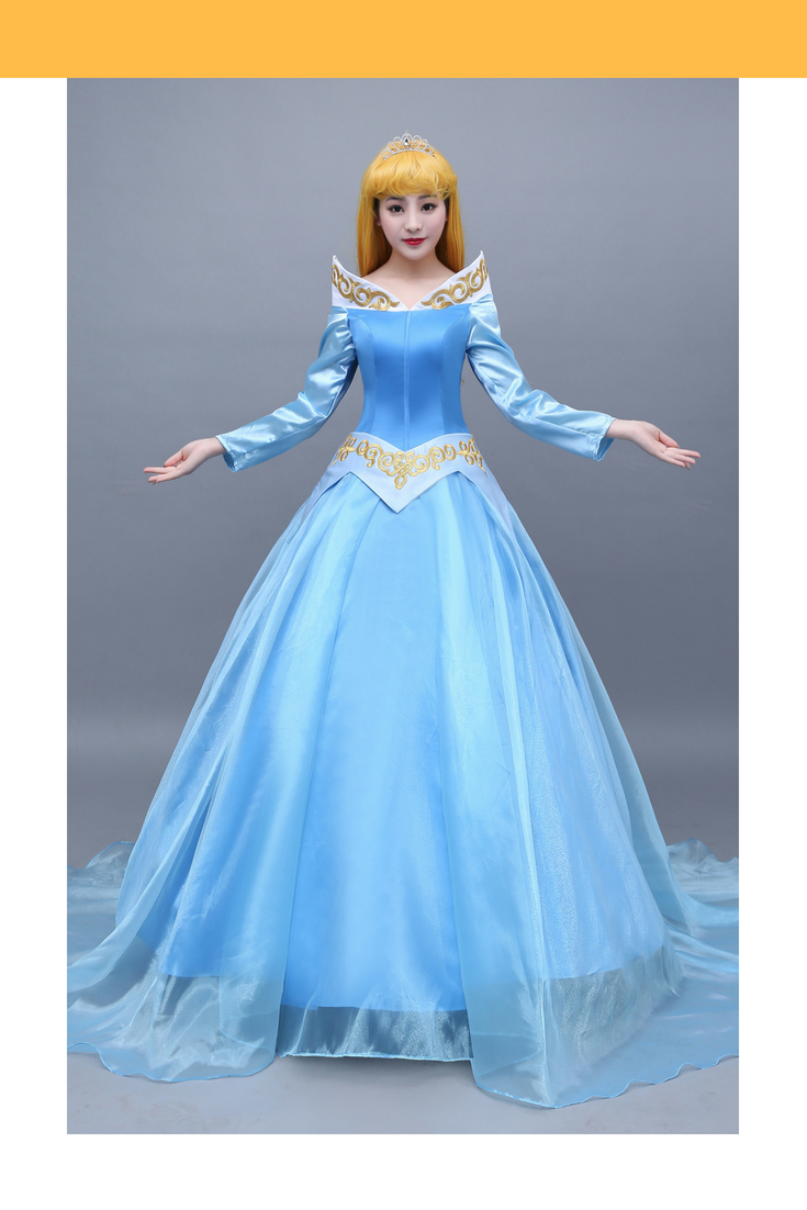 Sleeping Beauty Aurora Classic Blue Embroidered Cosplay Costume