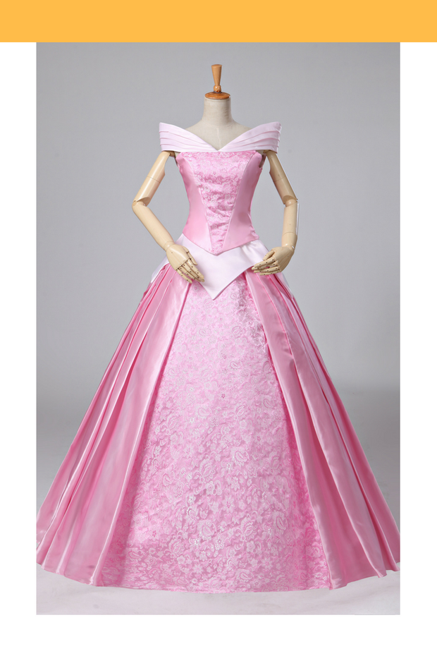 Sleeping Beauty Aurora Classic Brocade Satin Cosplay Costume - Cosrea Cosplay