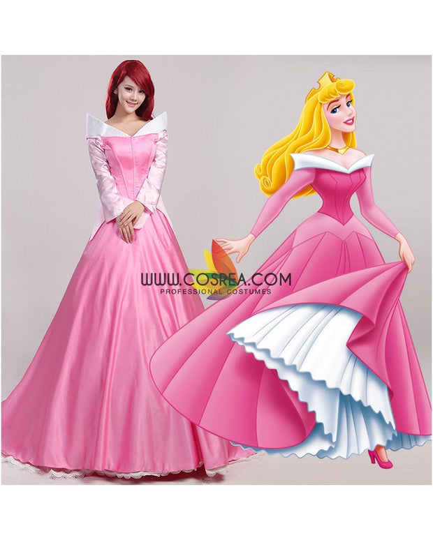 Cosrea Disney Sleeping Beauty Aurora Classic Pink Satin Cosplay Costume