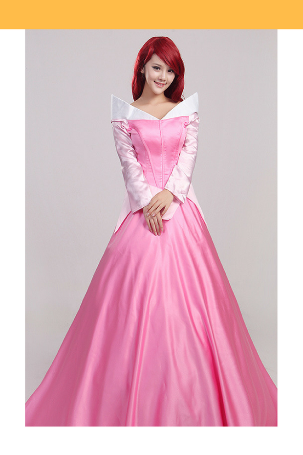 Sleeping Beauty Aurora Classic Pink Satin Cosplay Costume - Cosrea Cosplay