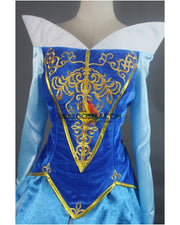 Cosrea Disney Sleeping Beauty Aurora Embroidered Blue Velvet Cosplay Costume