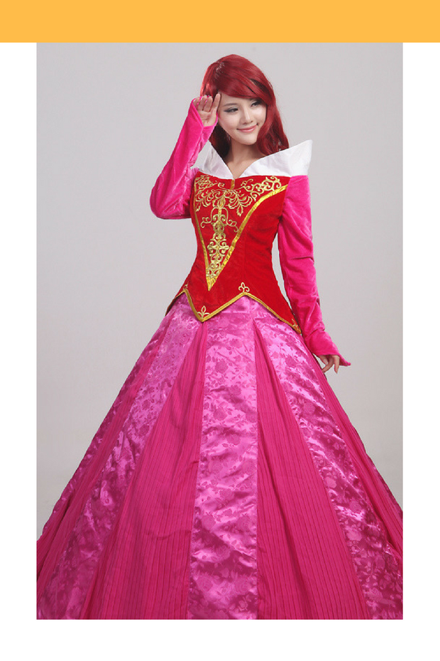 Cosrea Disney Sleeping Beauty Aurora Velvet Embroidered Cosplay Costume