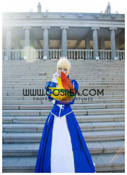 Cosrea Games Fate Night Saber Classic Blue Cosplay Costume