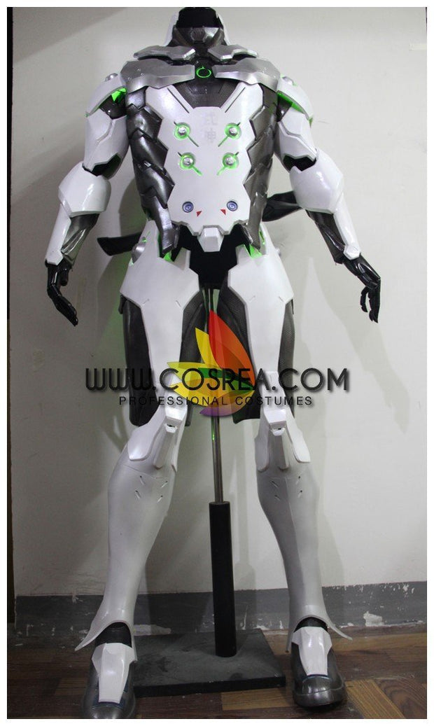 Overwatch Genji Gunmetal Silver With LED Armor Cosplay Costume - Cosrea Cosplay