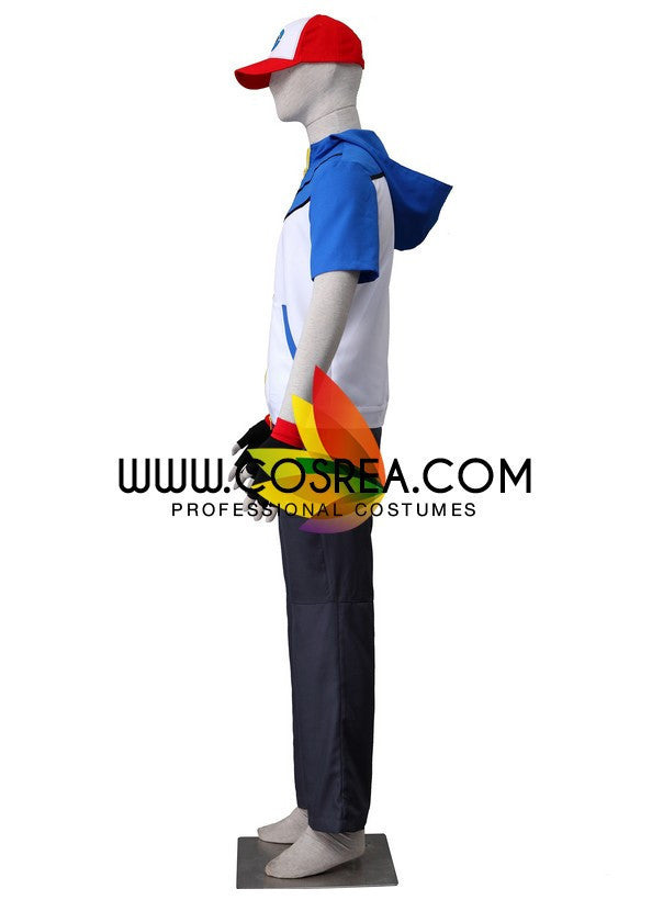 Cosrea Games Pokemon Black White Ash Cosplay Costume