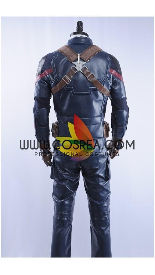 Cosrea Marvel Universe Captain America Metallic Navy PU Leather Cosplay Costume