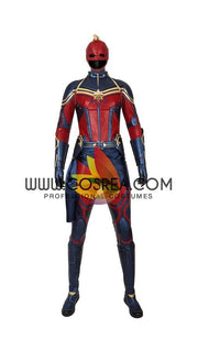 Captain Marvel Infinity War Metallic Blue PU Leather Cosplay Costume