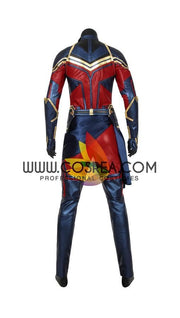 Cosrea Marvel Universe Captain Marvel Infinity War Metallic Blue PU Leather Cosplay Costume